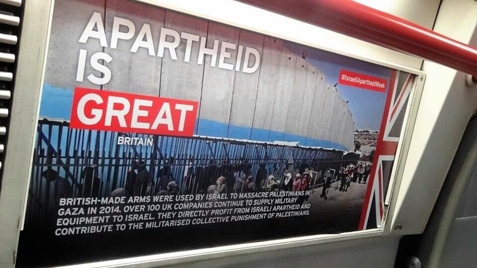 London Palestine Action plasters over 500 unauthorized advertisements on underground trains kicking off Israel Apartheid Week