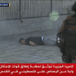 Screenshot of Al Jazeera footage of Israeli police shooting Mohammed Abu Khalaf moments after the Palestinian stabbed two border police officers.