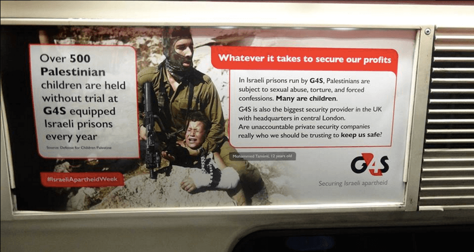 Targeting G4S: London Palestine Action plasters over 500 unauthorized advertisements on underground trains kicking off Israel Apartheid Week