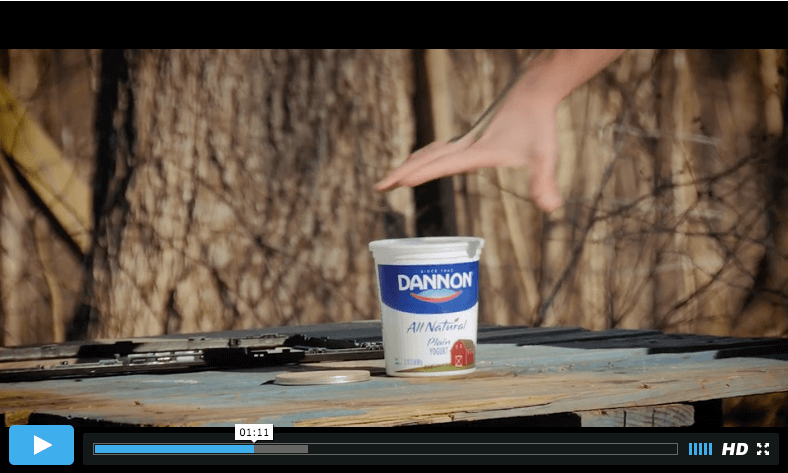 "Screenshot: Dannon yogurt right before it gets blown away, in ""BDS or the Bible"""