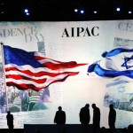 Workers prepare the stage at the American Israel Public Affairs Committee (AIPAC) policy conference in Washington, March 2, 2015. REUTERS/Jonathan Ernst