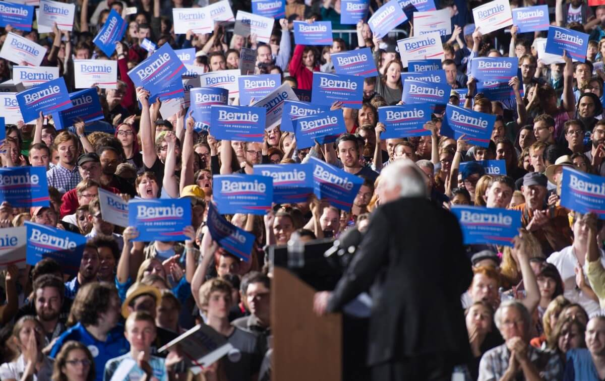 Bernie Sanders speaks to supporters during a rally at Prince William Fairground in Manassas, Virginia, Monday, September 14, 2015. (AP Photo/Cliff Owen)