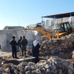 Demolition in Khirbet Jenbah in the South Hebron Hills on February 2, 2016. (Photo: Nasser Nasser Nawaj'ah/B'Tselem)