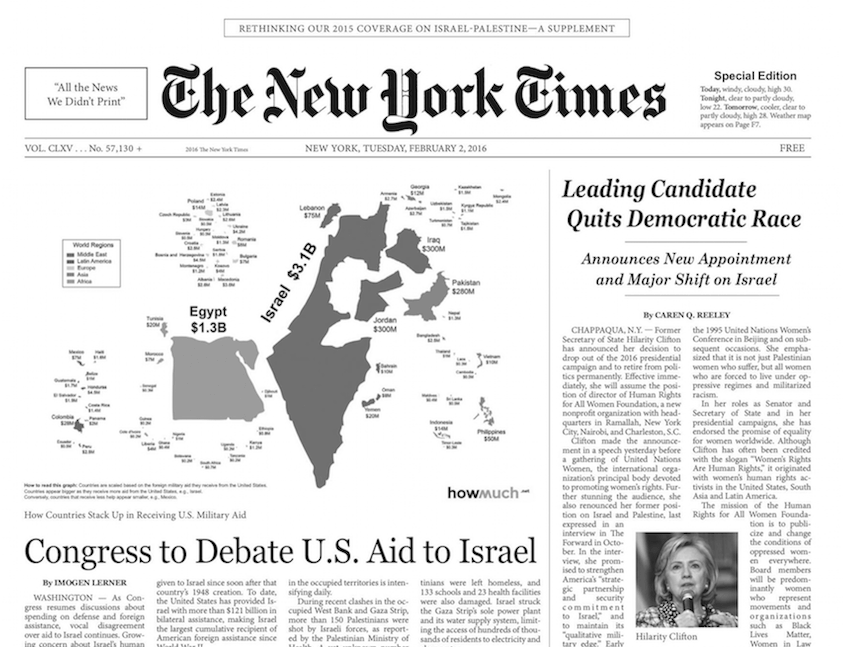 A parody supplement of the New York Times criticizing the paper's coverage of Israel/Palestine is being handed out on the streets of New York City.