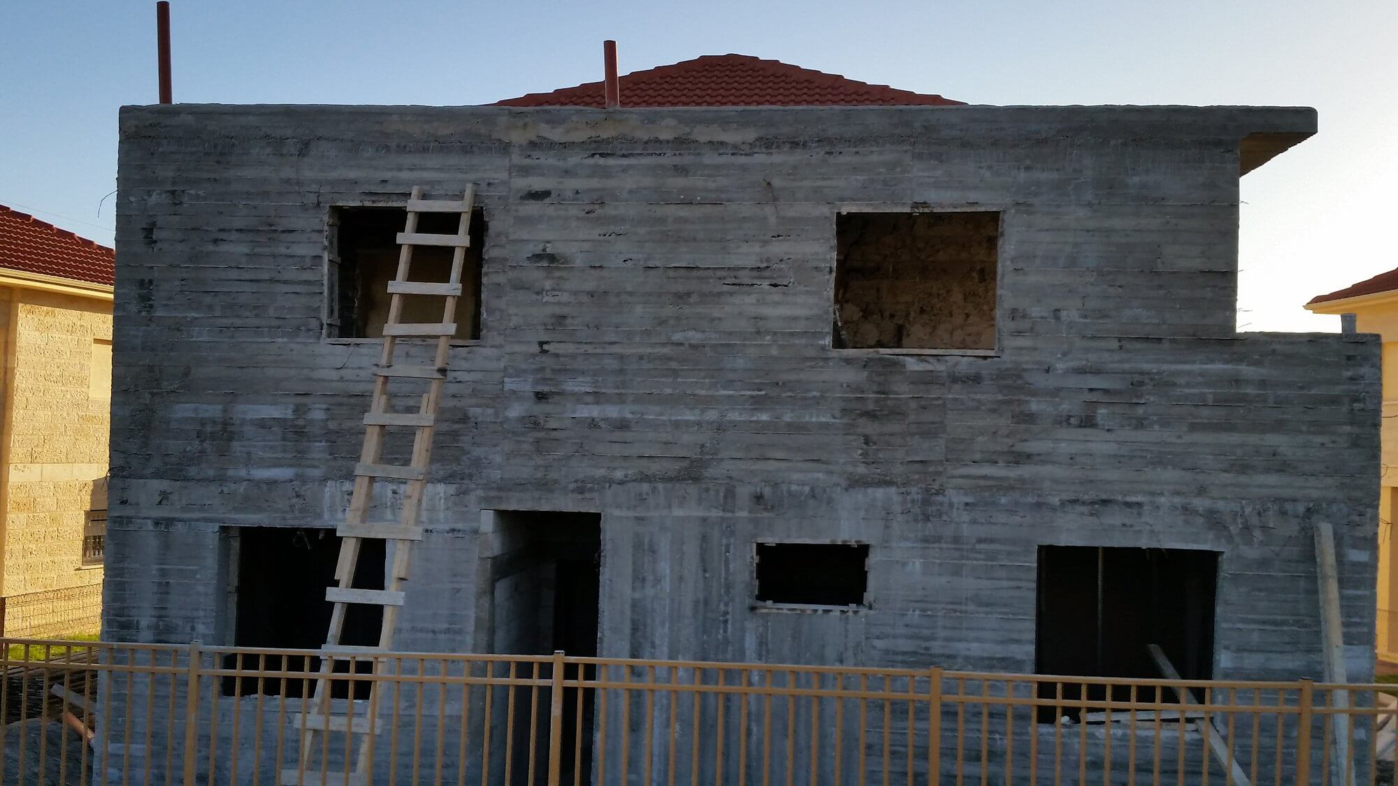 House under construction in Ofra, a Jewish settlement deep in the occupied West Bank (photo by Phil Weiss)