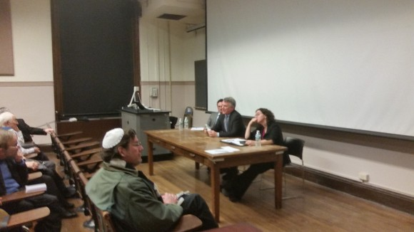Panel at Columbia March 28 featuring Jordan Hirsch, Michael Doran and Tamara Cofman Wittes, l to r.