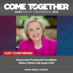 Clinton to AIPAC, yesterday's announcement