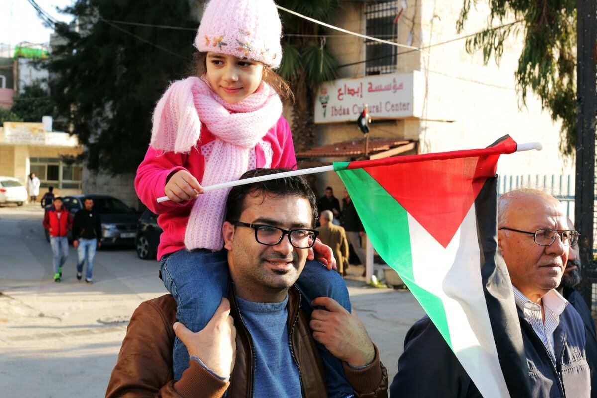 Unlike many protests in the occupied West Bank, women and children were more than welcome on Wednesday and took part in the commemoration. (Photo: Abed al Qaisi/Mondoweiss)