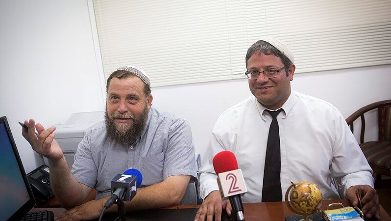 Leader of the far-right Israeli group Lehava, Bentzi Gopstein (L), seen at a press conference with his lawyer Itamar Ben Gvir, in Jerusalem on August 11, 2015. (Photo: Miriam Alster/Flash90)