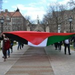 Palestinian flag at U of Chicago divestment launch