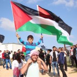 Land Day protest in the southern Negev village of Umm el-Hieran, slated for demolition, as Palestinians mark the 40th anniversary of protests of land confiscations. (Photo: Joint List)