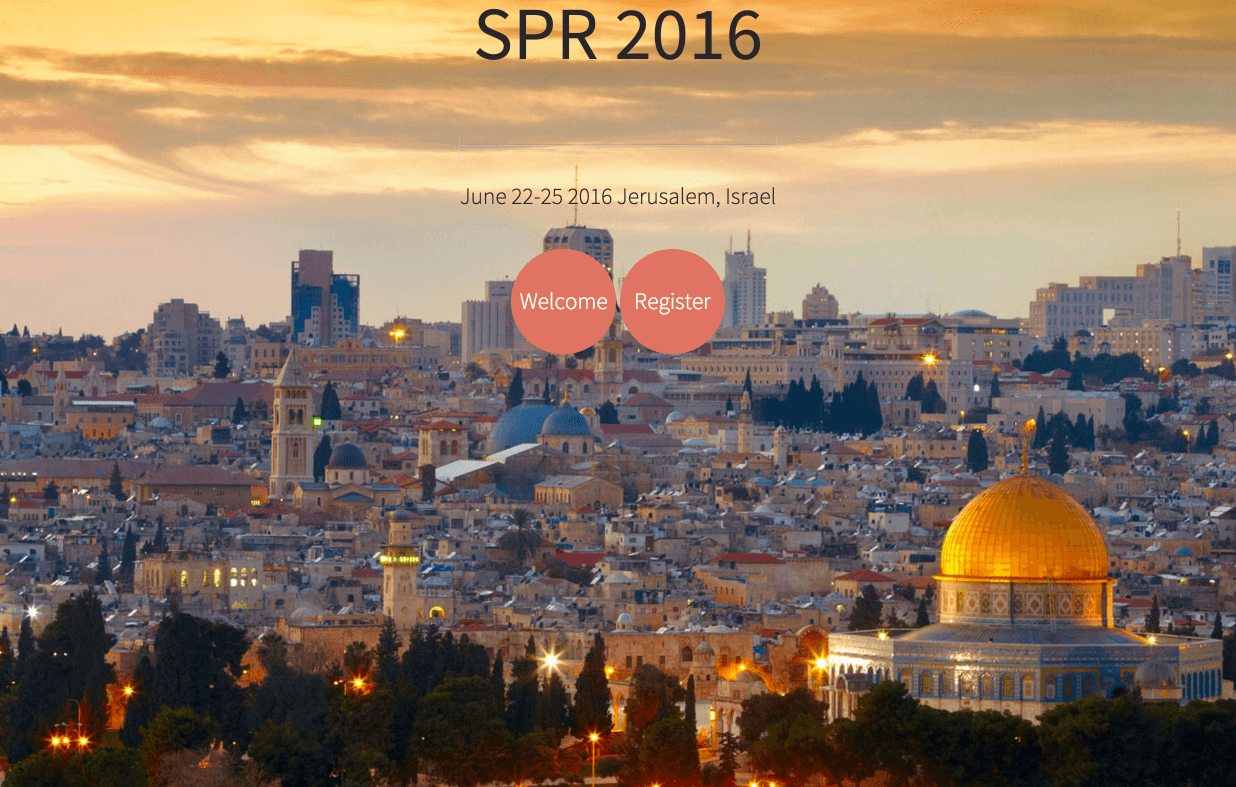 Homepage for Society for Psychotherapy Research Annual Meeting in Jerusalem.