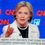 Hillary Clinton defends Israel at debate in Brooklyn, April 14, 2016