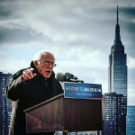 Bernie Sanders speaking in New York on April 8