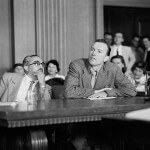 Pete Seeger being questioned by the House UnAmerican Activities Committee in August 1955