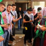 Thousands of students gathered at Birzeit for the student elections, flooding the campus with political garb, most of which showed support for one of three student groups affiliated with Hamas, Fatah and the PFLP.(Photo: Abed Al Qaisi)
