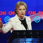 Hillary Clinton during a Democratic party debate before the New York primary.