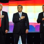 Republican candidates Donald Trump, Ted Cruz and John Kasich at a debate at the University of Miami.