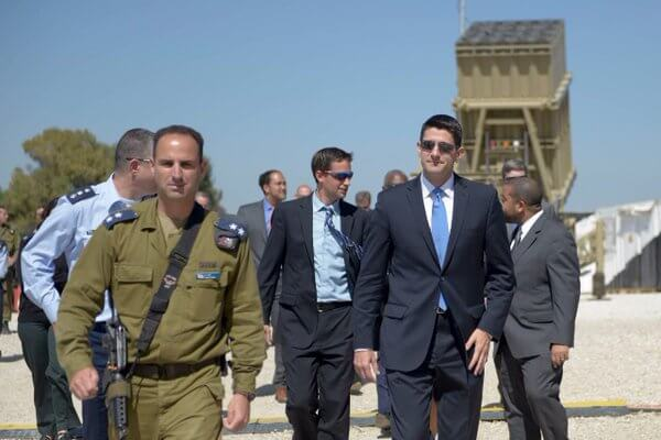 Paul Ryan in Israel at Iron Dome battery with IDF officers