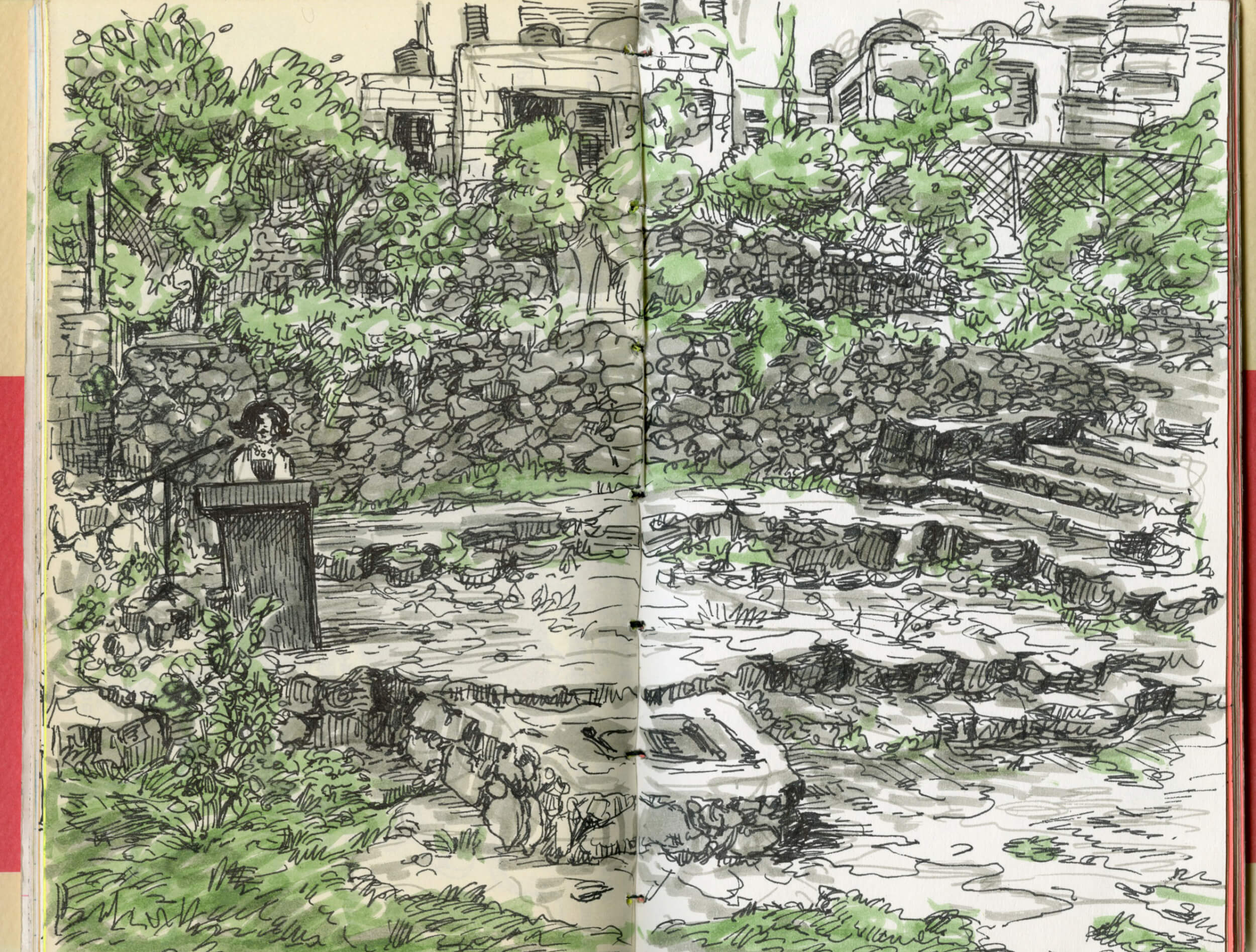 PalFest 2015's closing night in Ramallah. (Sketch by Molly Crabapple)