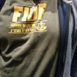 IDF t-shirt on attendee at Temple Israel New Rochelle talk by Dov Waxman, May 4, 2016