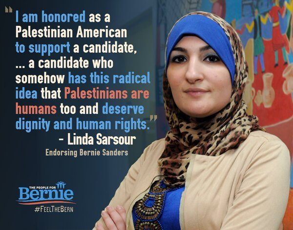 A Sanders campaign ad featuring Sarsour.