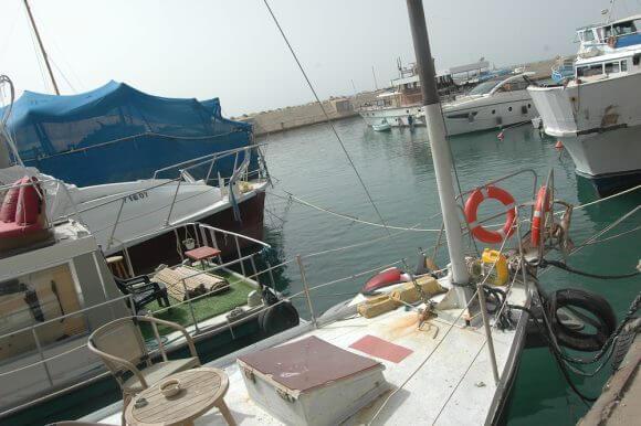 Boats docked at the Jaffa Port. (Photo: Allison Deger)