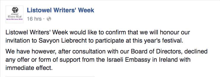 Screenshot: Listowel Writers' Week Facebook posting