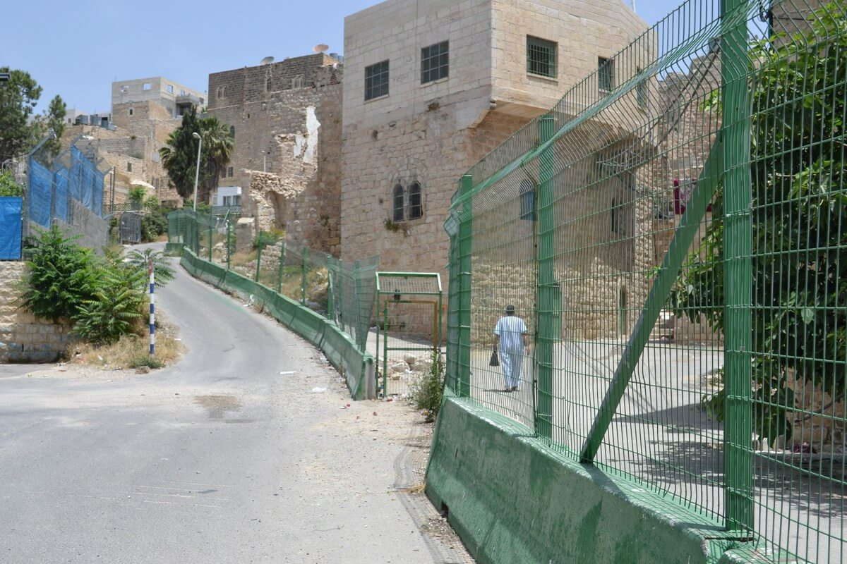 Great divide between Ibrahimi Mosque and Palestinian neighborhood of downtown Hebron, photo by David Kattenburg