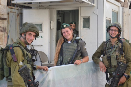 Soldiers at Qitoun checkpoint in Hebron, photo by David Kattenburg
