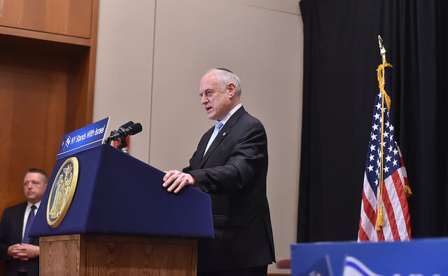 Malcolm Hoenlein, chairman of the Conference of Presidents of Major Jewish Organizations, speaking at Gov. Cuomo's announcement that he was signing anti-BDS executive order