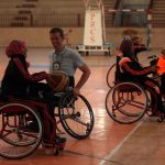 American coach Jess Markt trains disabled Palestinians to play basketball during a training course organized by the Palestinian Red Cross in Khan Younis in the southern Gaza Strip, on May 28, 2016. (Photo: Ashraf Amra/APA Images)