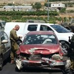 Car in which Majd Abdullah al-Khdour, 19, was killed in occupied territory outside Hebron yesterday, photo by Ma'an