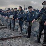 Greek police at the Macedonian border in Idomeni. (Photo: Hala Gabriel)