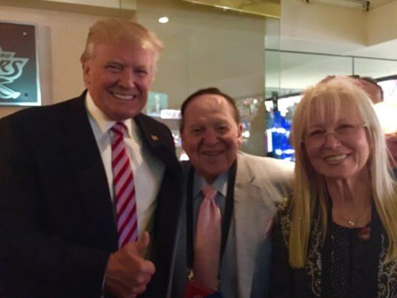Trump with Sheldon and Miriam Adelson, photo from Andy Aboud in Vegas, undated