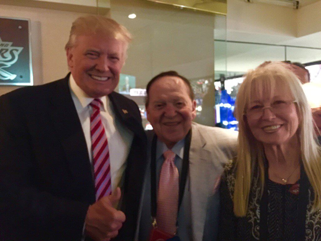 Image result for images of sheldon adelson with Trump