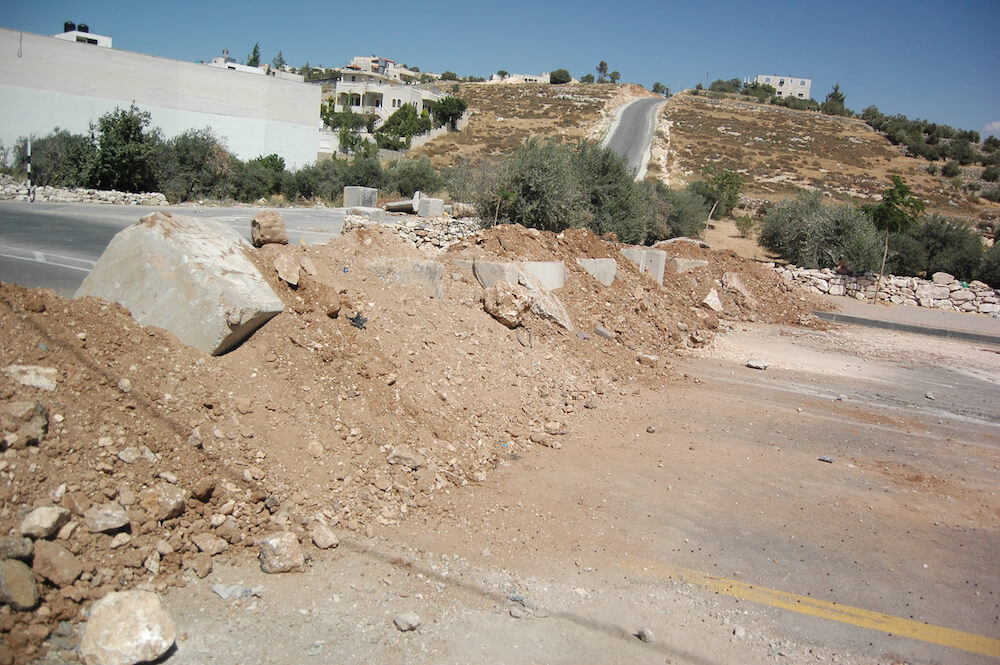 Roadblock leading into Bani Na'im in the southern West Bank outside of Hebron. (Photo: Allison Deger)