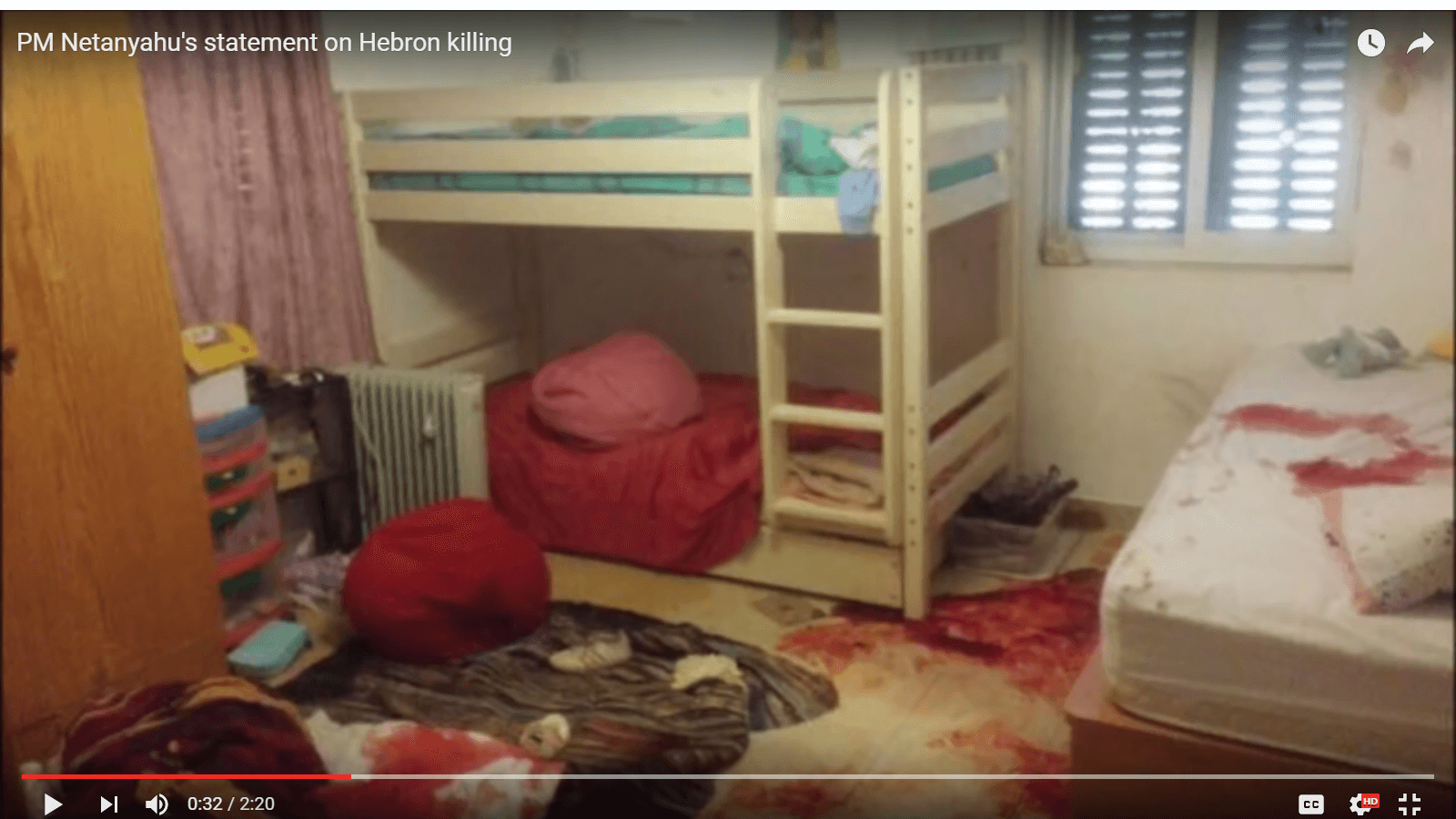 Netanyahu video showed bloodstained room of Hebron girl who was victim of Palestinian attack