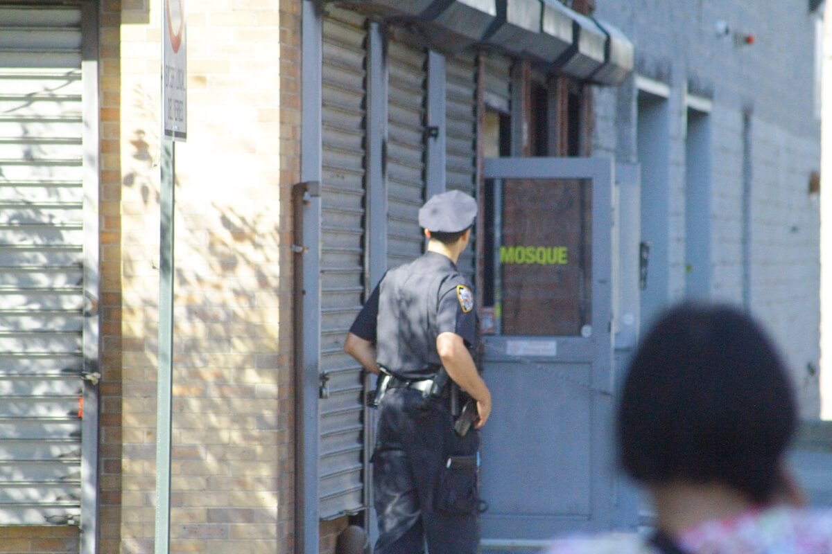 Security stationed outside the mosque. (Photo: Wilson Dizard)
