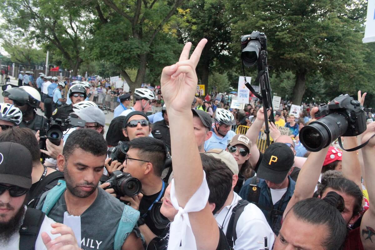 Democracy Rising protest outside the Democratic National Convention in Philadelphia. (Photo: Wilson Dizard)