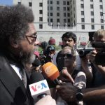 Cornel West talking to Al Madayeen news outside the Republican National Convention in Cleveland, OH. (Photo: Will Dizard)