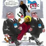 """In his speech on the last night of the DNC Reverend William Barber III said, """"""""Jesus, a brown-skin Palestinian Jew, called us to preach good news to the poor, the broken and the bruised and all those who are made to feel unaccepted."""" (Image: Carlos Latuff)"""