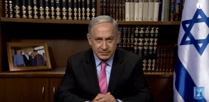 """Screen shot of Israeli Prime Minister's video message published yesterday, entitled, """"PM Netanyahu: Dear Arab citizens of Israel--take part in our society in droves."""" (Video original: IsraeliPM/YouTube)"""