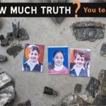 Photos of Jehad Shuheibar (10), Afnan Shuheibar (8) , and Wassim Shuheibar (9 ), amid fragments of the missile that killed them July 17, 2014. (Photo: Anne Paq)