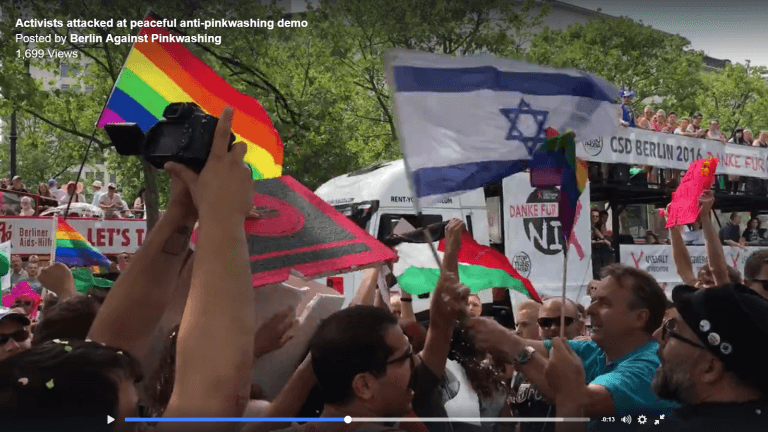 Israeli flag wielded as a weapon at Berlin gay pride day demo against Israeli apartheid