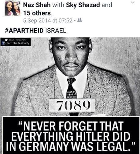 Screenshot of MP Naz Shah's Facebook post on Israel and Jim Crow South and Hitler, from Guido Fawkes