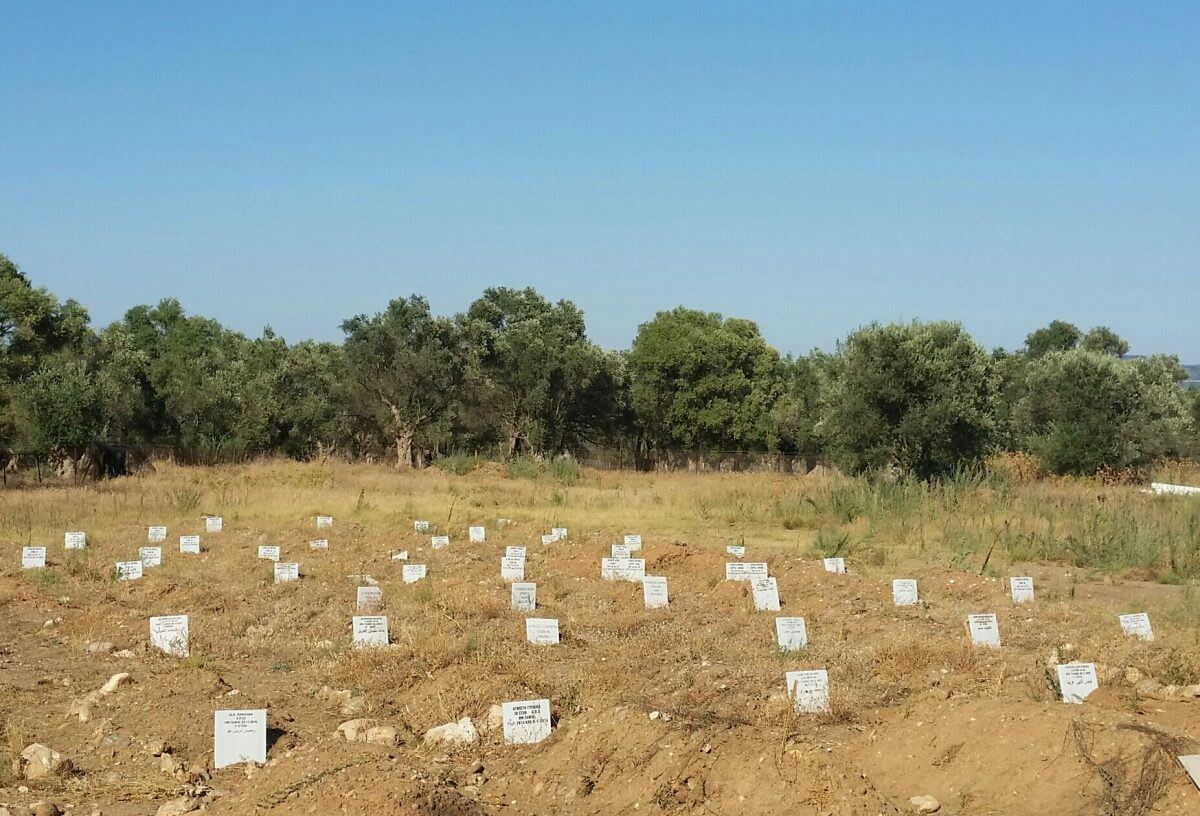 A small cemetery near the village of Kato Tritos commemorates those who died making the harrowing crossing from Turkey. (Photo: Michaela Whitton)