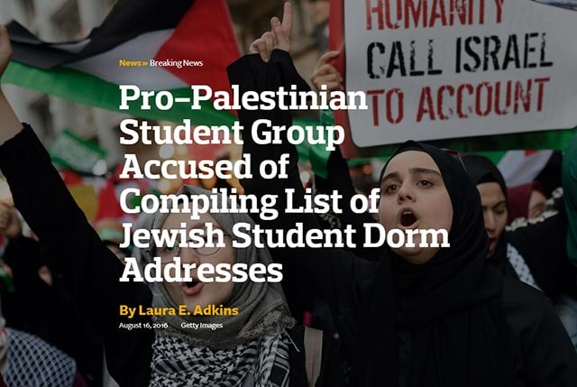 """""""Pro-Palestinian Student Group Accused of Compiling List of Jewish Student Dorm Addresses"""""""
