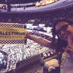 """Photo on Twitter from the Democratic National Convention - """"We are #ProgressiveforPalestine. We support #Palestinian human rights! #DemsInPhilly #DNCinPHL"""" tweeted @tamarghabin. (Photo: @tamarghabin/Twitter)"""