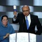 At the Democratic convention: Ghazala Khan (Ieft) and husband Khizr, parents of Army Captain Humayun Khan, slain in Iraq in 2004.